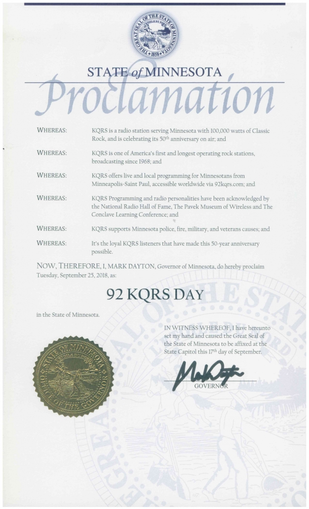 Proclamation from the State of Minnesota