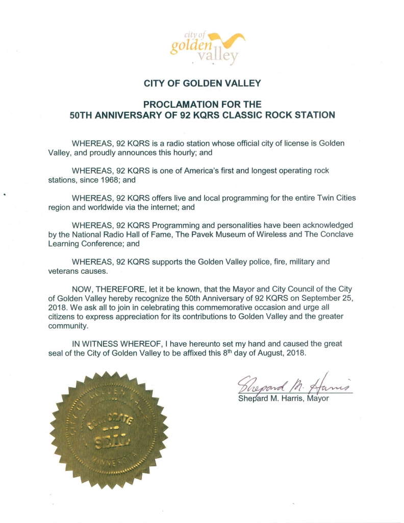 Proclamation from the City of Golden Valley