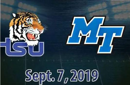 The Tigers open the season on Aug. 31 against Mississippi Valley State in the John Merritt Classic at Nissan Stadium. The matchup against the Blue Raiders is set for Sept. 7, almost 21 years to the day the two squads battled to a 28-27 contest, in favor of MT on Sept. 5, 1998.