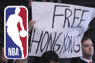 Protesters show support for Hong Kong at Wizards game
