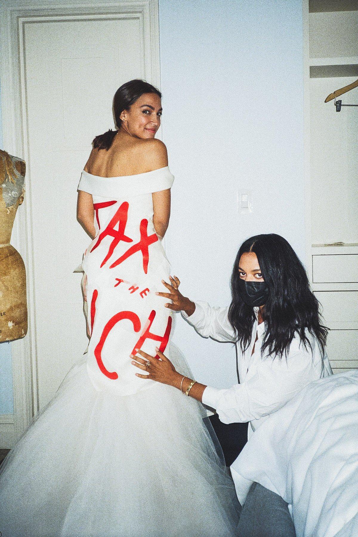 Hypocrisy in action! AOC models a dress she will wear to a $30,000 per ticket gala. (Photo: Alexandria Ocasio-Cortez Twitter)