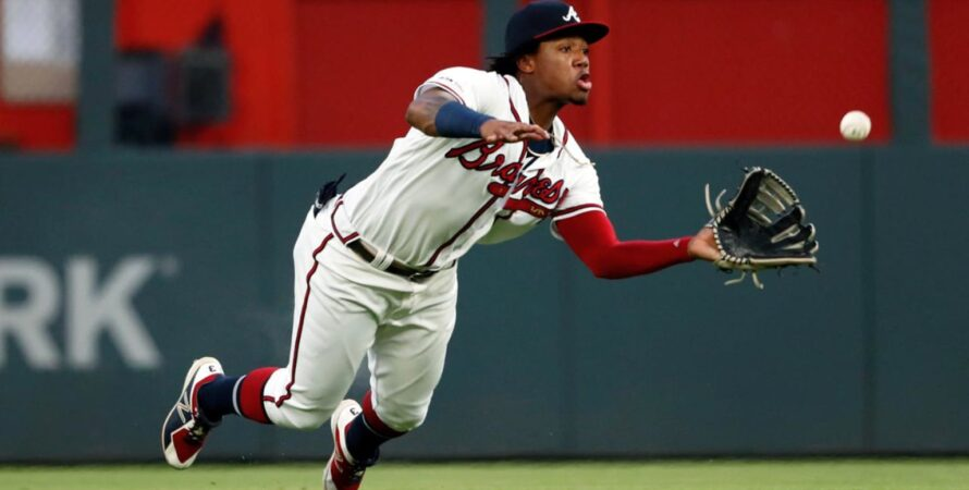 Ronald Acuña Jr. leads the Braves outfield in 2021. (Photo cred: John Bazemore, AP)
