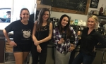The ladies at Coffee Ranch in Chico keeping Tim Buc Moore in line during Wake the Buc Up on 106.7 Z-Rock