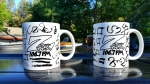 """Custom Z-Rock """"Doodle"""" mugs, personalized by Tim Buc Moore at Debbie's Restaurant in Paradise on June 14th 2018 for Wake the Buc up!"""