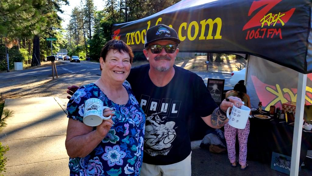Tim Buc Moore with doodle mug recipient at Debbie's Restaurant in Paradise June 14th during Wake the Buc Up!