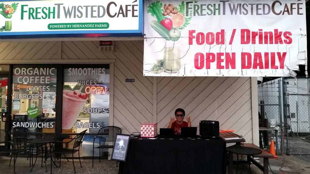 Tim Buc Moore's live morning show tour of Butte County, Wake the Buc Up with promo guy Brighton at Fresh Twisted Cafe in Chico August 2nd 2018