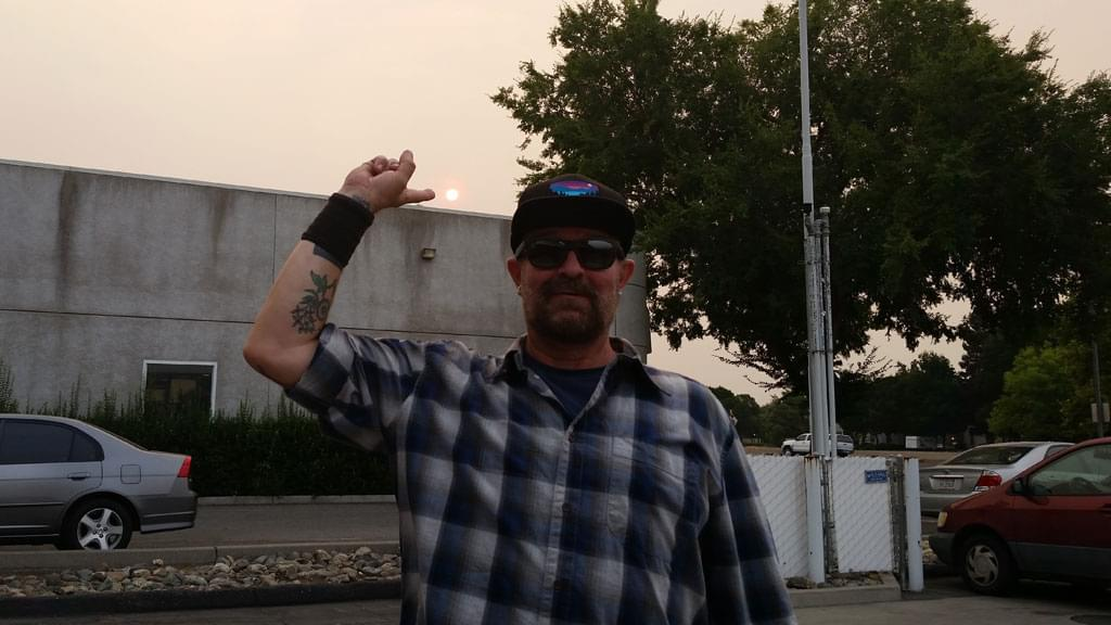 Tim Buc Moore's live morning show tour of Butte County, Wake the Buc Up, with Tim identifying the sun at Fresh Twisted Cafe in Chico August 2nd 2018