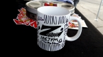 """A Z-Rock """"Doodle"""" Mug customized by Tim Buc Moore at Lots 'A Java in Oroville CA for Wake the Buc Up October 4th 2018"""