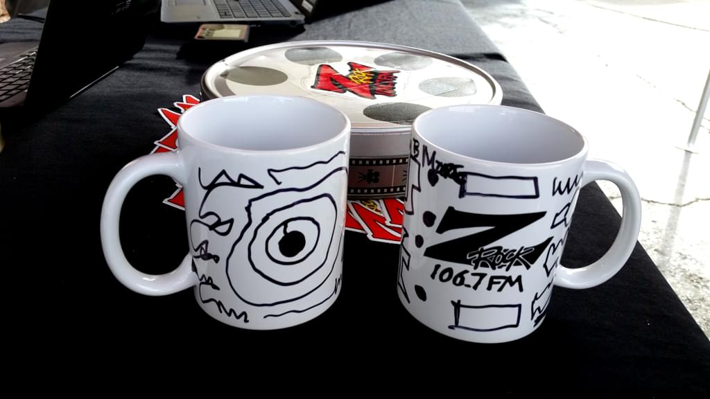 """Z-Rock """"Doodle"""" mugs customized by Tim Buc Moore at Lots 'A Java in Oroville CA for Wake the Buc Up October 4th 2018"""