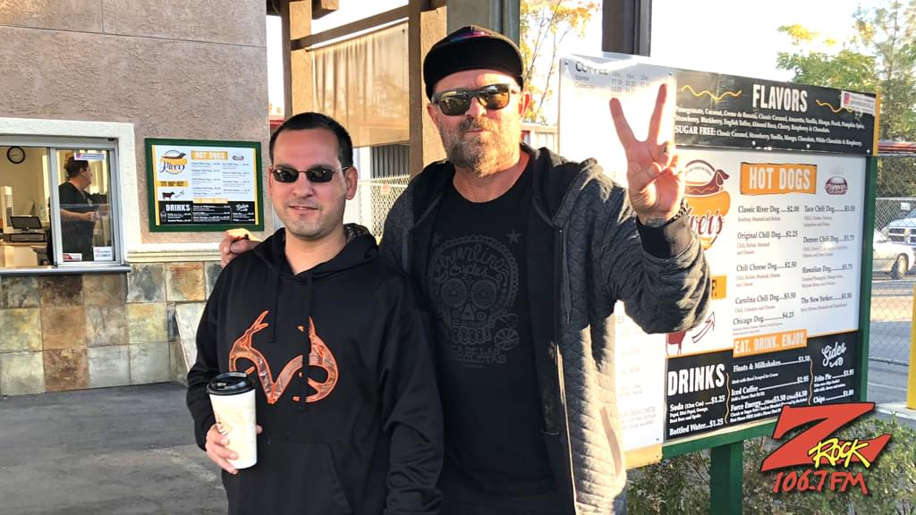 Tim Buc Moore's live morning show tour of Butte County, Wake the Buc Up with listener at River's Hot Dogs in Oroville October 25th 2018