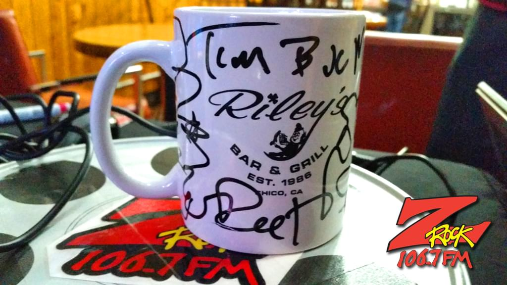 "A Z-Rock ""doodle"" mug customized by Tim Buc Moore at Wake the Buc Up sponsored by Riley's in Oroville at Mug Shots Coffee House 2/14/19"