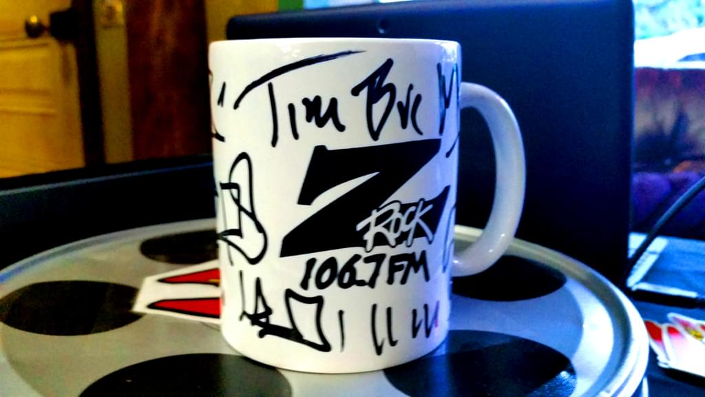 "A Z-Rock ""doodle"" mug customized by Tim Buc Moore at Wake the Buc Up in Oroville at Mug Shots Coffee House 2/14/19"