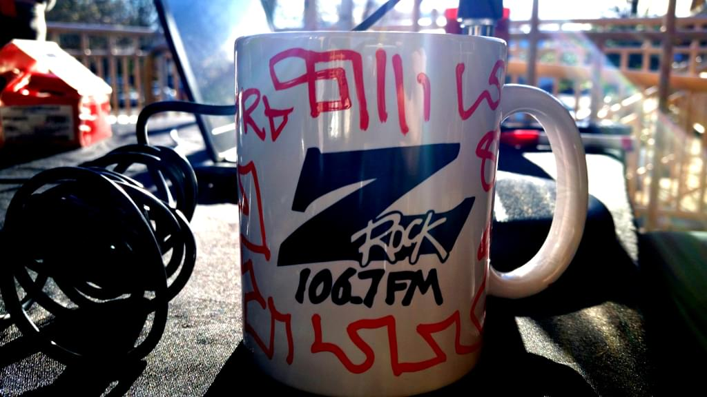 "A Z-Rock ""doodle"" mug customized by Tim Buc Moore during Wake the Buc Up at Great Northern Coffee in Chico CA 2/21/19"