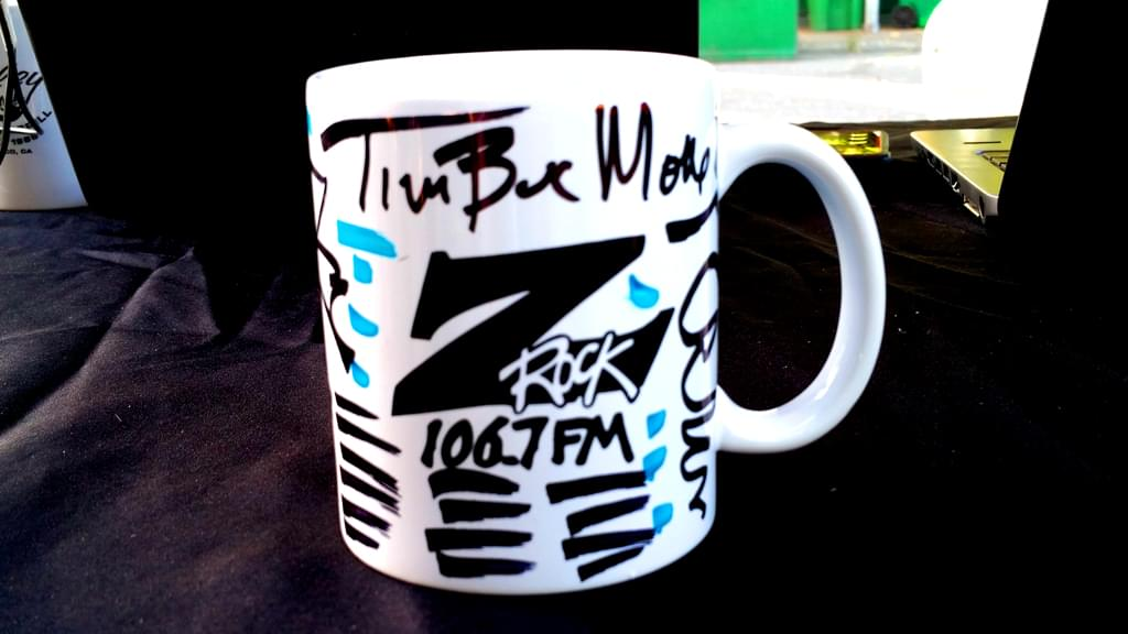 """Z-Rock """"Doodle"""" mug customed by Tim Buc Moore at Wake the Buc Up in Chico, live from 15th Street Cafe"""