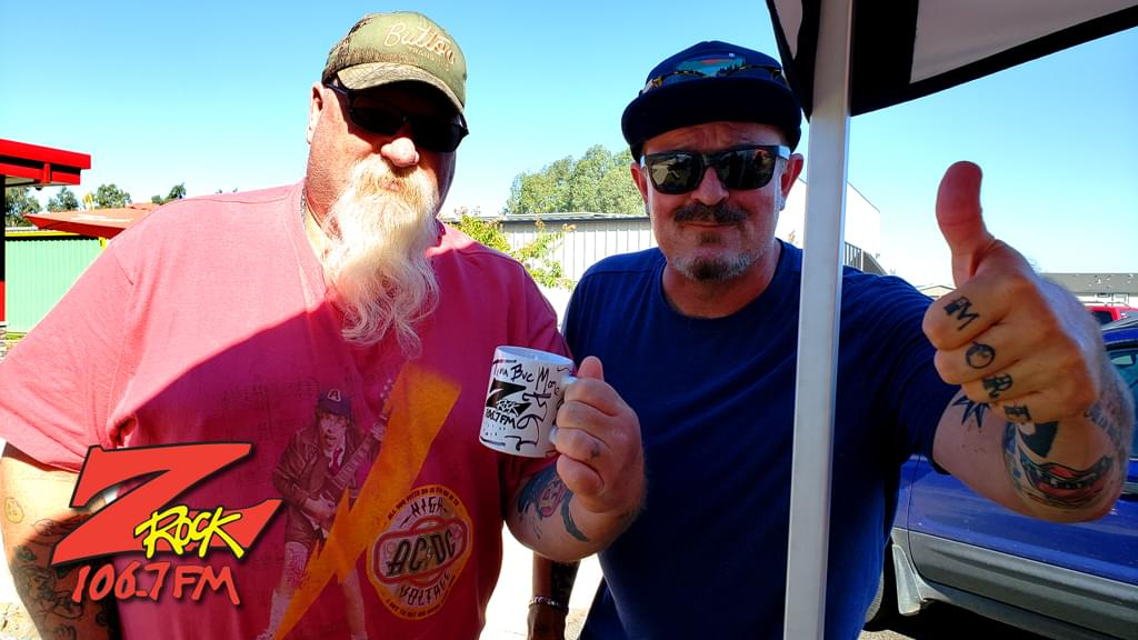 Tim Buc Moore with a Buc Head at Code 3 Coffee in North Chico for Wake the Buc Up 2019 for 106.7 Z-Rock