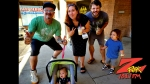 Tim Buc Moore with a family of Buc Heads at Betty Cakes & Coffee for Wake the Buc Up 2019 on August 22nd with 106.7 Z-Rock