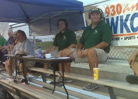 Chad and Jim first worked together covering Greenwood football in 2008 (seen here broadcasting from the stands while Meade County's press box was being rebuilt) and were reunited in 2018 covering area high school games