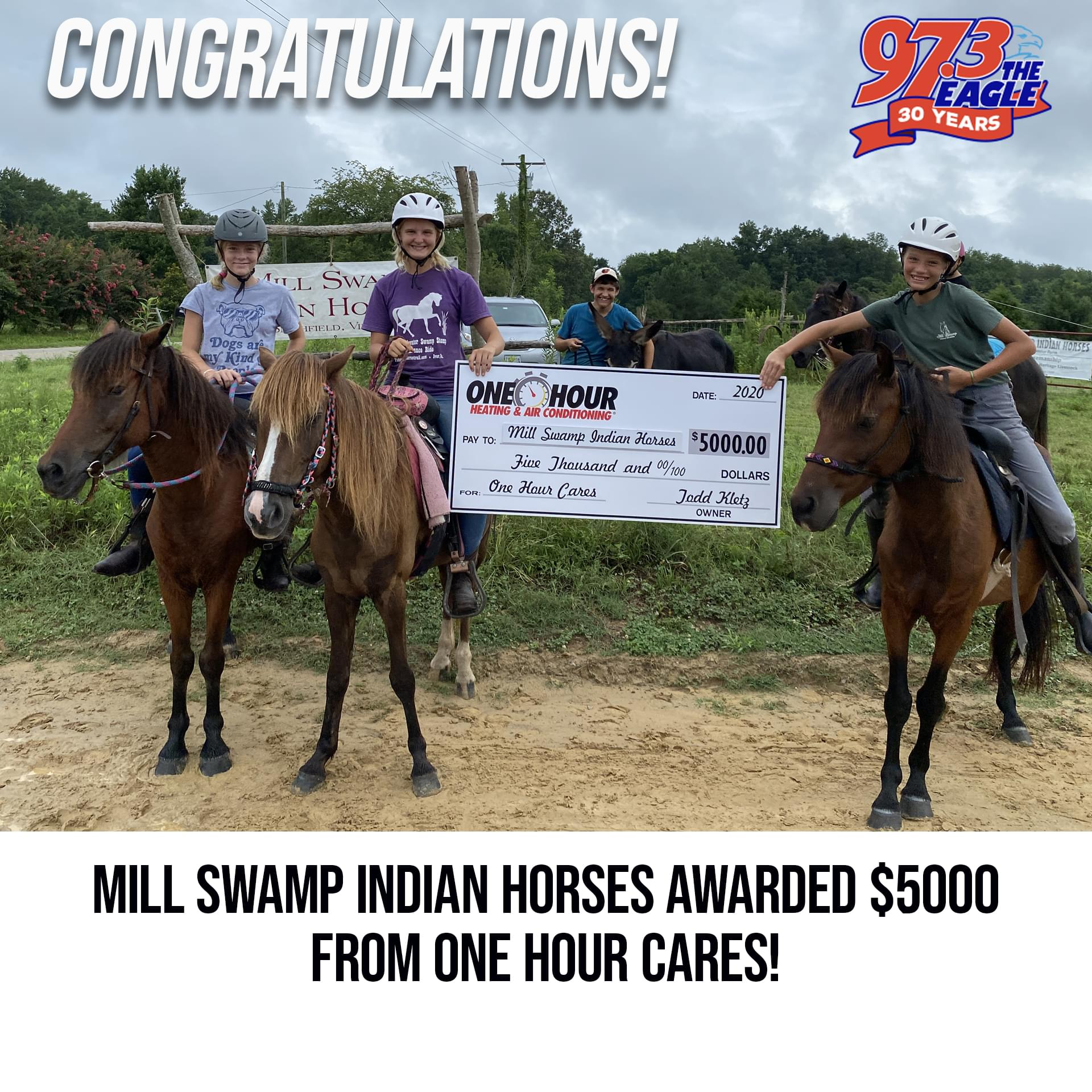 One Hour Cares Awards $5000 to Mill Swamp Indian Horses {LISTEN}