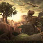 """""""Dueling Dinosaurs"""" Fossil Lands in Raleigh, North Carolina Museum. ~ CASH {Watch}"""