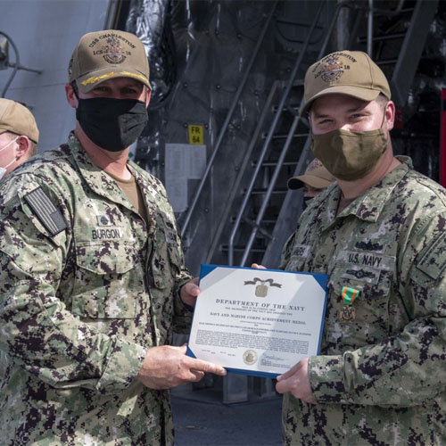 Norfolk Native Receives Navy and Marine Corps Achievement Medal Aboard U.S. Navy warship