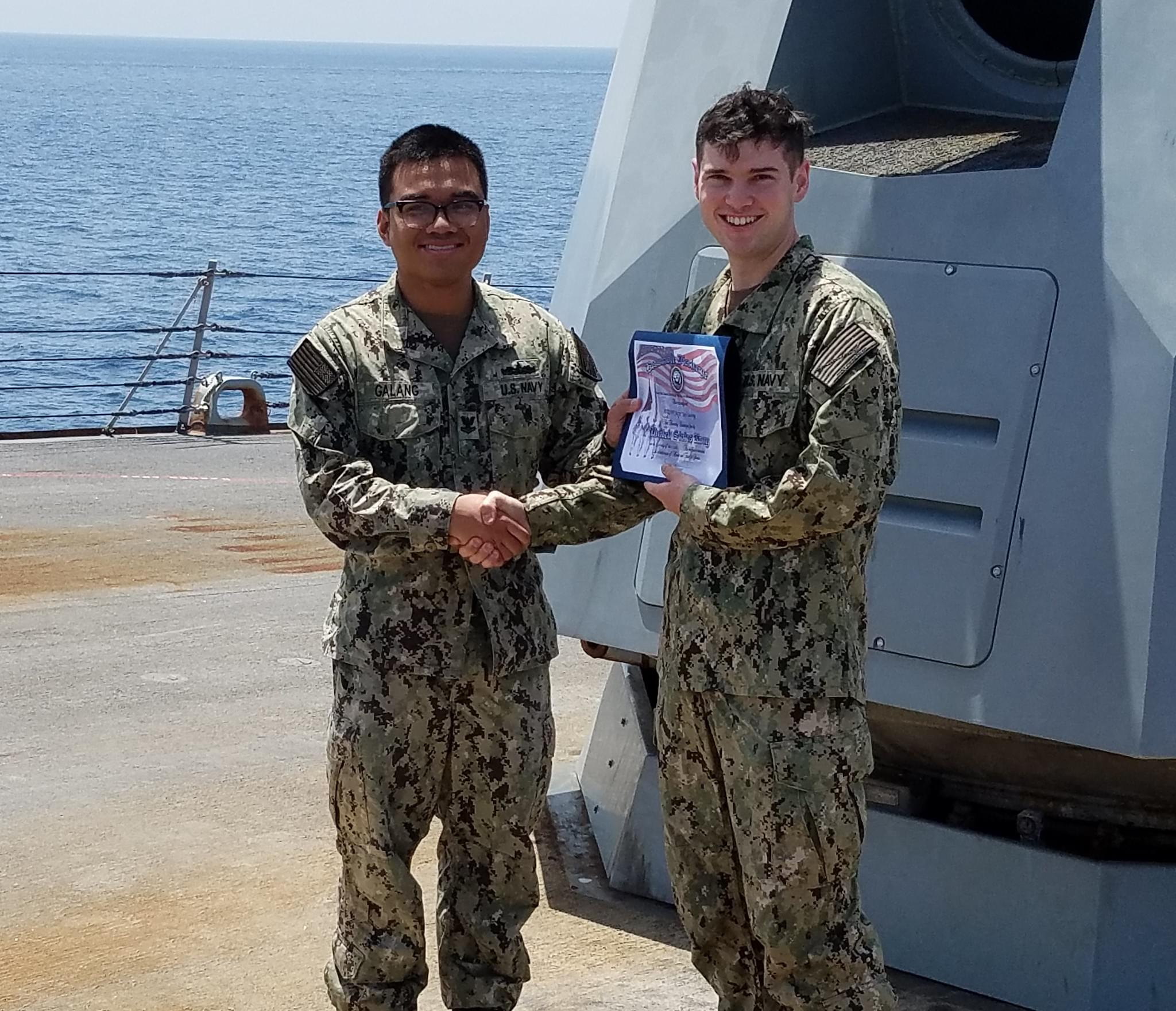 Norfolk Native Reenlists in U.S. Navy Aboard USS James E. Williams