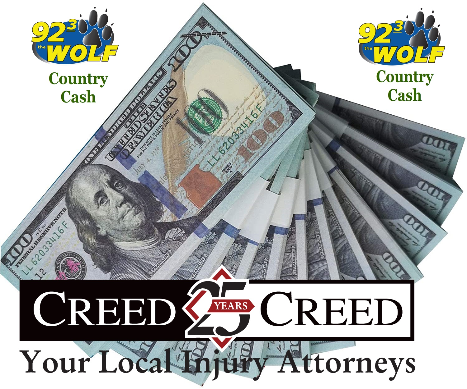 92.3 THE WOLF ALONG WITH CREED & CREED WANT YOU TO WIN $500 IN COUNTRY CASH