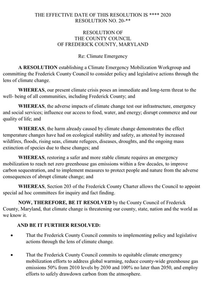 County Council Considering Climate Change Resolution