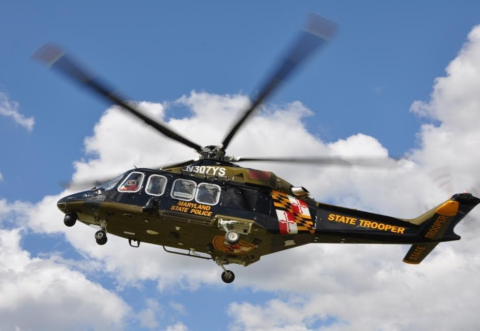 Maryland State Police Helicopter Based In Frederick Rescues Person From Liberty Dam