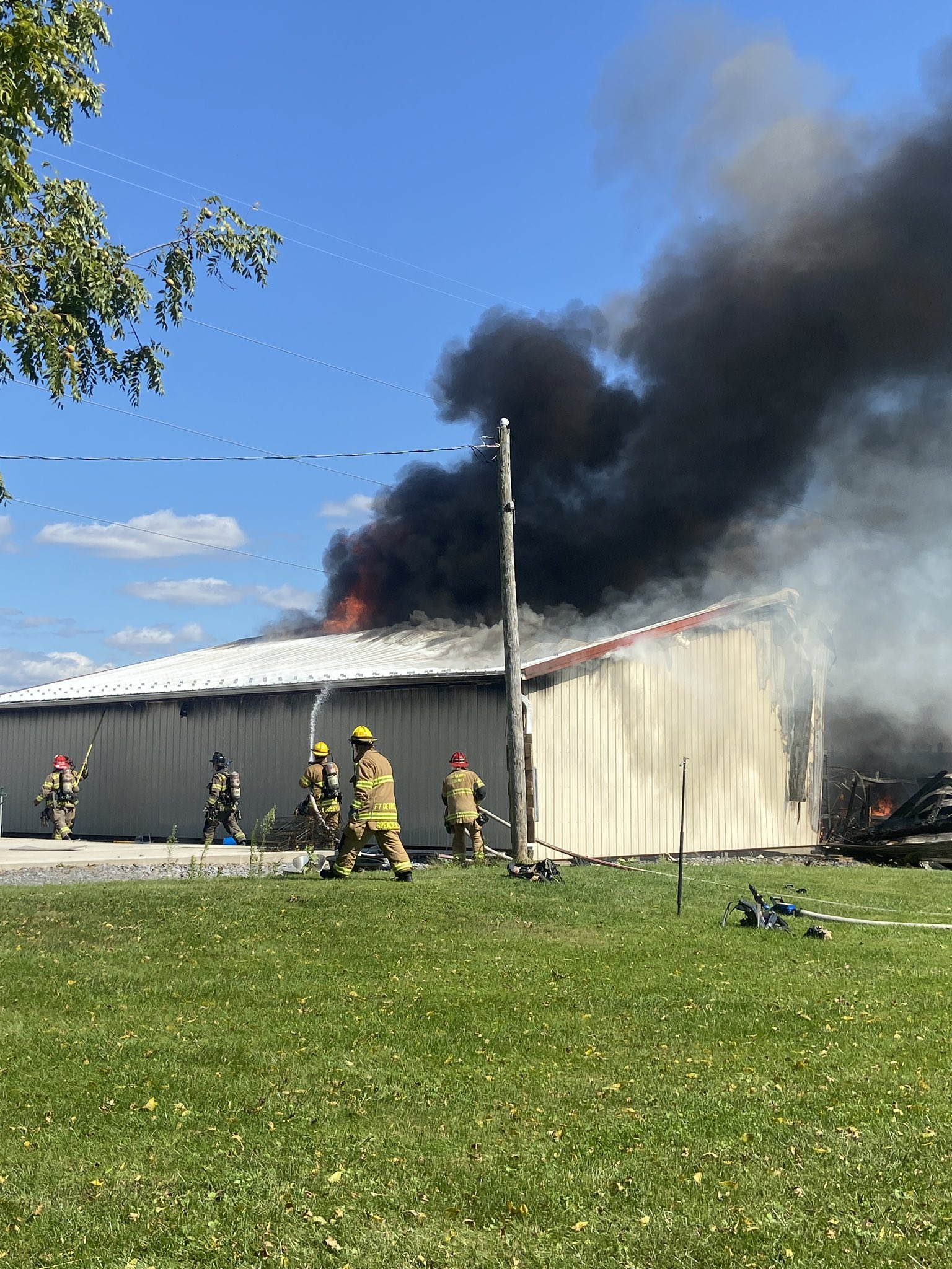 Frederick County Fire Fighters Battle Large Outbuilding Fire Thurs. Afternoon