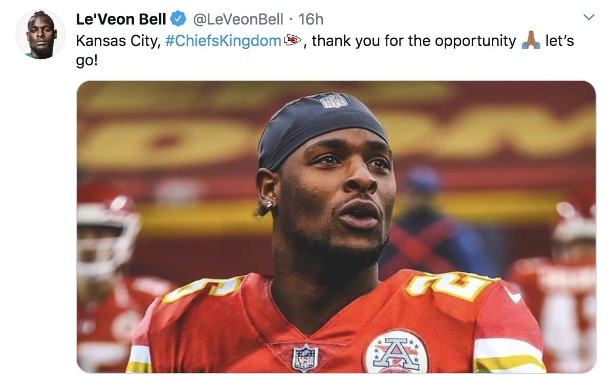 Chiefs Players, Coach React to Le'Veon Bell Signing on Social Media