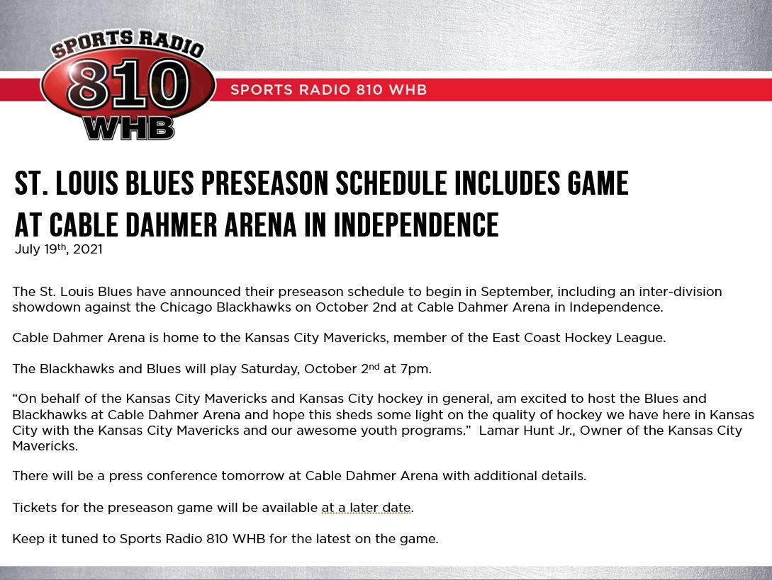 Blues-Blackhawks in KC on Oct. 2
