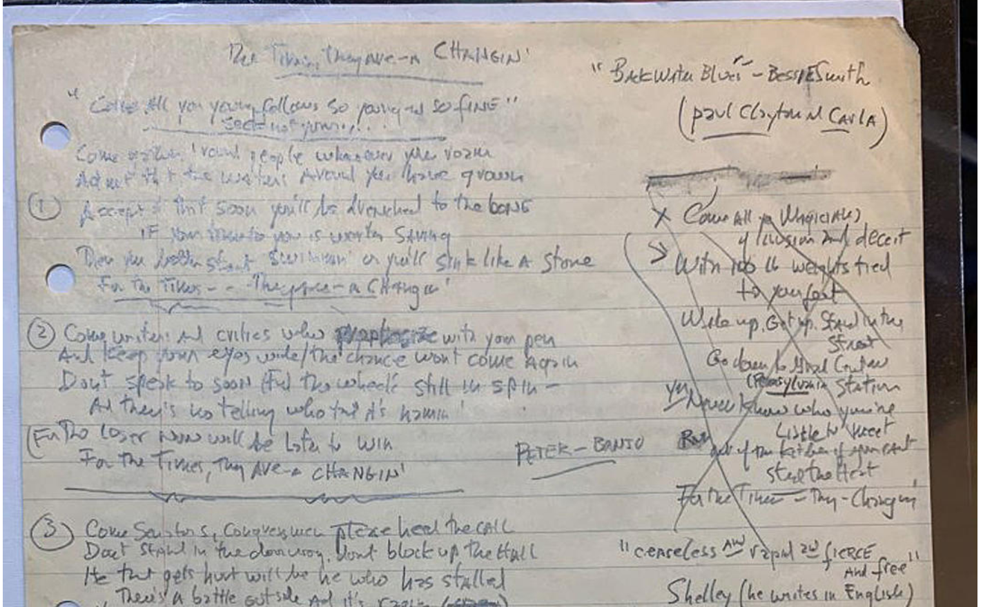 """Bob Dylan's Handwritten """"The Times They Are A-Changin'' Lyrics listed for $2.2M"""