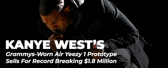 Kanye West's Grammys-Worn Air Yeezy 1 Prototype Sells For Record Breaking $1.8 Million