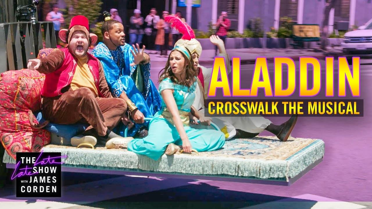 """Will Smith & James Corden Hilariously Perform Songs From 'Aladdin' on """"Crosswalk The Musical"""""""