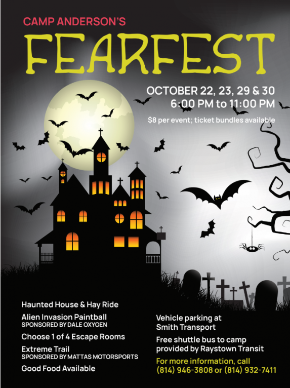"""October 22, 23, 29 & 30 – """"FearFest""""    at Camp Anderson – Tyrone"""
