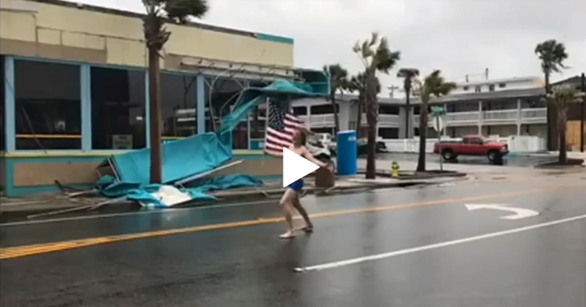 WATCH: Man with US Flag faces Florence
