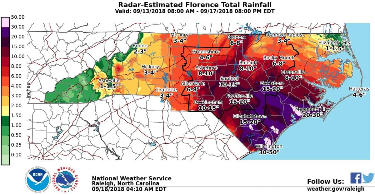 Florence dropped 8 trillion gallons of rain on NC