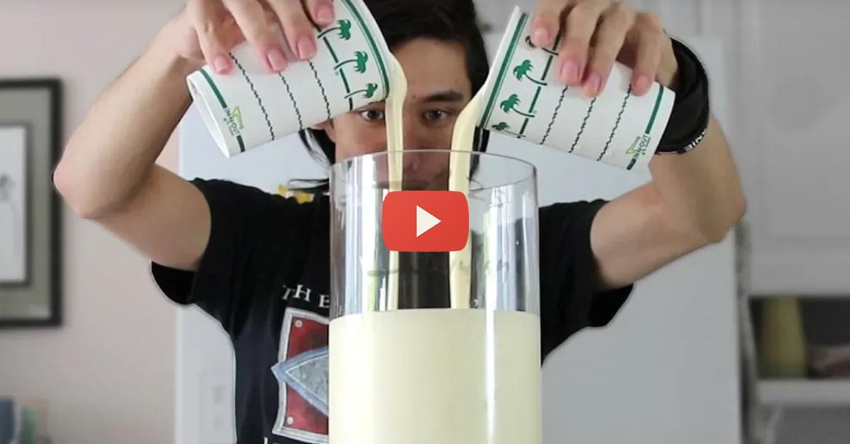 Watch: Man Drinks 1.25 Gallon Vanilla Milkshake!