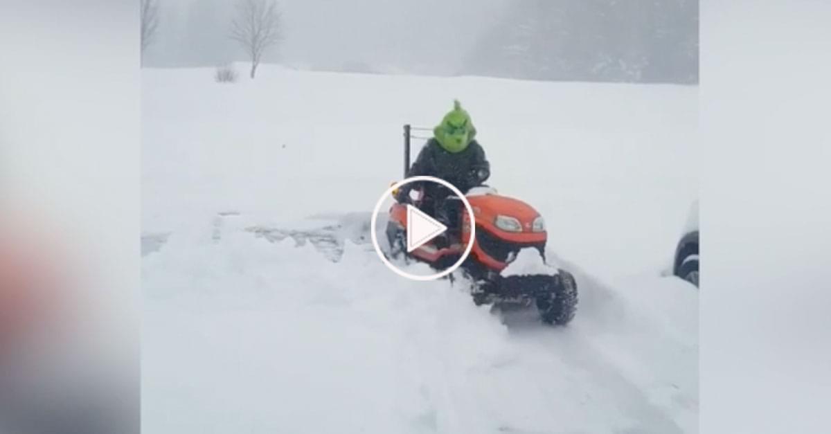 Watch: Grinch Plows Snow in Boone