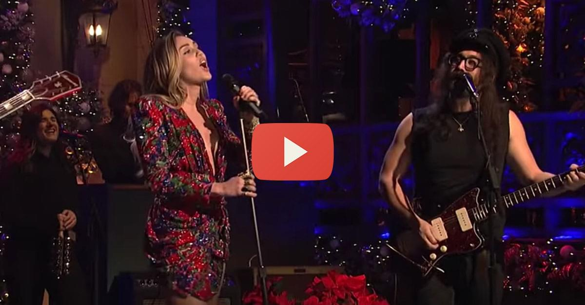 Watch: Miley Cyrus performs '(Happy Xmas) War Is Over' with Sean Ono Lennon