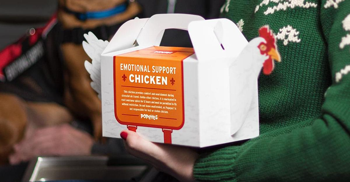 Popeyes Is Selling 'Emotional Support Chicken' to Help with Holiday Travel Stress