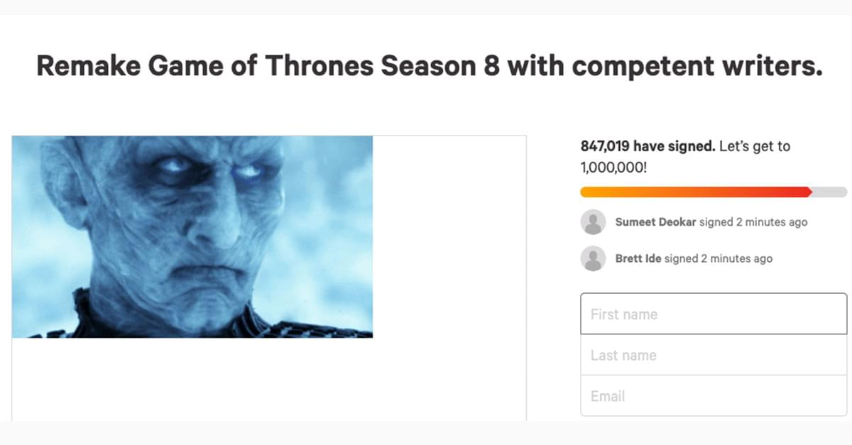 'Game of Thrones' Fans Create Petition for Season 8 Remake