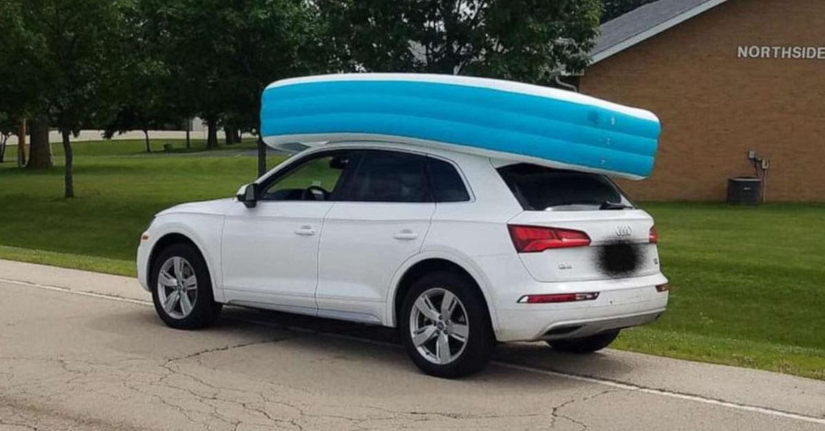 Mom Arrested for Driving with Kids in Inflatable Pool on Top of Car