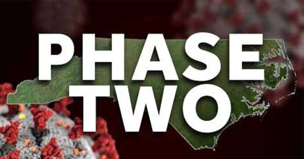 NC in Phase 2 until Sept. 11