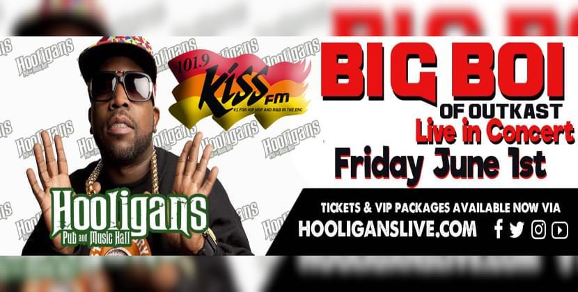 Big Boi June 1st At Hooligans In Jacksonville…