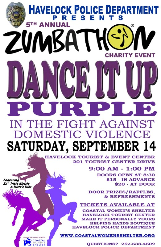 Havelock Police Dept Presents 5th Annual zumbathon  Charity Event Dance it Purple