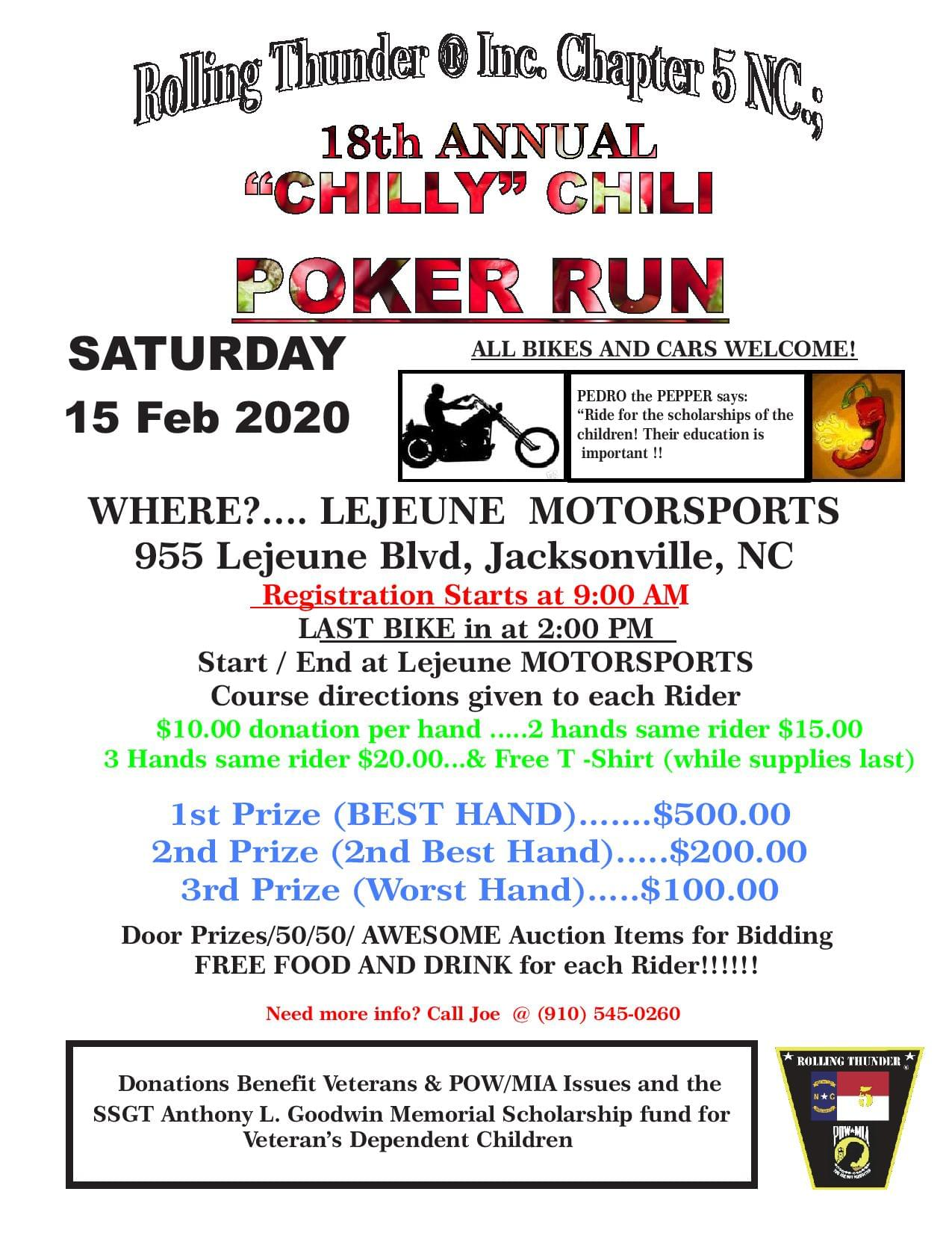 18th Annual Rolling Thunder®, Inc. NC 5 Chilly Chili Poker Run