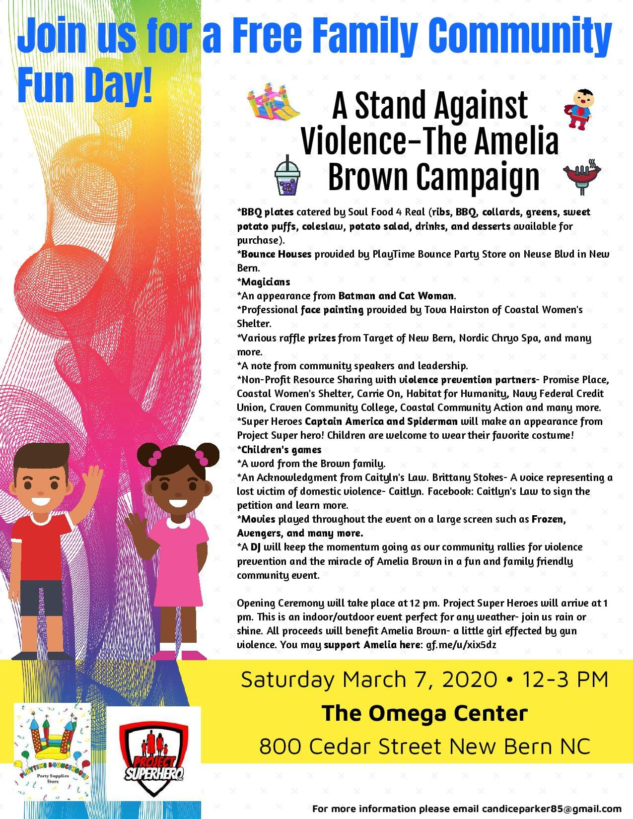 Free Family Community Day – A Stand Against Violence – The Amelia Brown Campaign