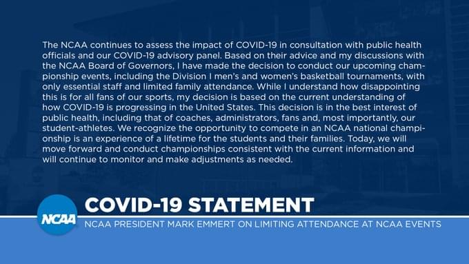 NCAA Tournament games will be played without fans in all rounds due to the coronavirus outbreak