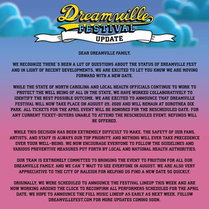 Dreamville Festival Postponed Until August 29